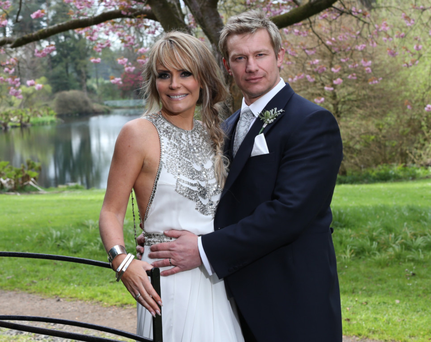 Tracey Hall on her wedding day last year with husband Stefan Rodgers