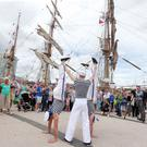 Visitors enjoy the day at the Tall Ships event in Belfast