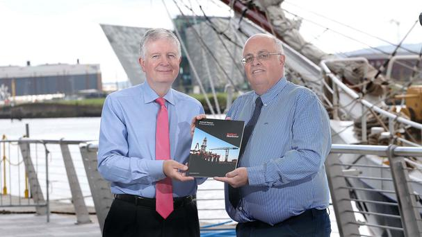 Belfast Harbour's chairman David Dobbin, left, and CEO Roy Adair (Matt Mackey/Presseye/PA)