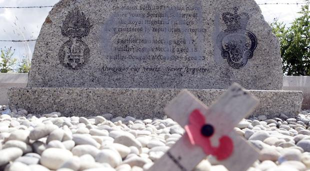 The memorial in Ligoniel to three Scottish soldiers killed by the IRA has been vandalised in the past.