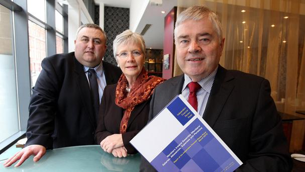 Pat McCartan (right) with IFRP members Alan McQuillan and Dr Henrietta Campbell