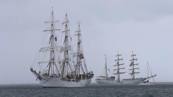 The Tall Ships leave Belfast after four days as part of the maritime Tall Ships Festival Race