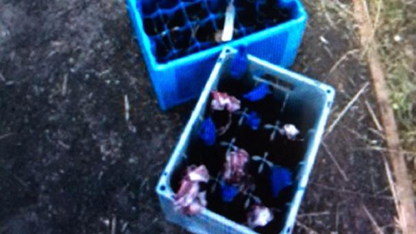 Petrol bombs that have been seized in west Belfast (PSNI/PA)