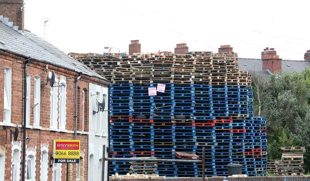 The towering bonfire at Chobham Street in east Belfast