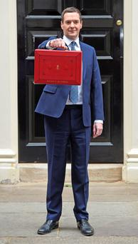 George Osborne with his red briefcase