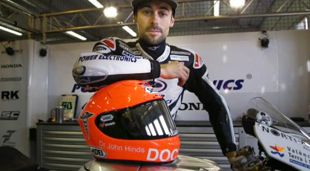 Bike ace Eugene Laverty with his tribute to the doctor