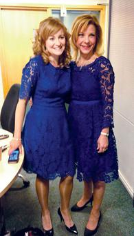 BBC NI presenters Ciara and Angie in their dresses yesterday