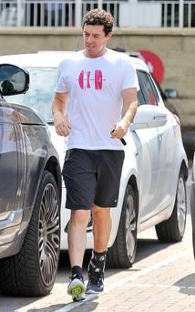 World number one golfer Rory McIlroy continues his rehab from an ankle injury at the Virgin Active Health Club, just outside his home town of Holywood