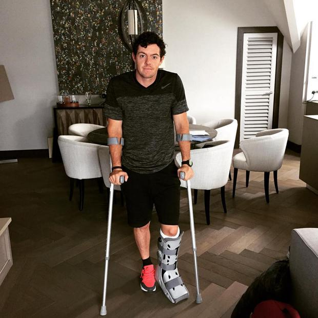 Rory McIlroy after he picked up his injury