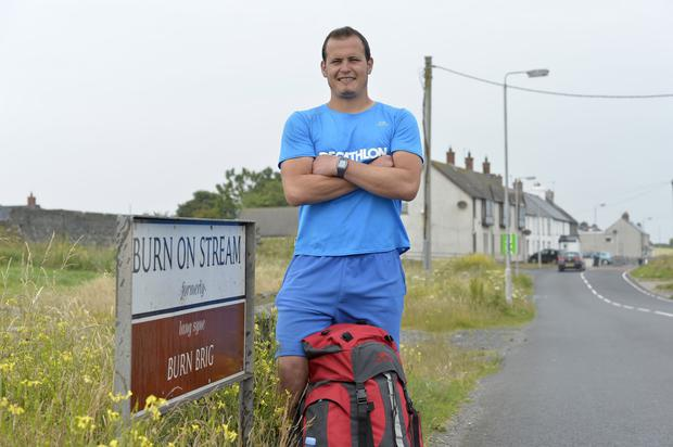 Noel Johnston at Ballyhalbert in County Down on the closing leg of his Ulster Way charity walk