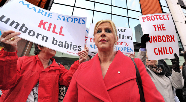 Bernadette Smyth from Precious Life protesting outside the Marie Stopes clinic in Belfast