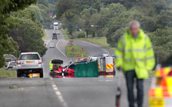 The scene of the fatal crash on the outskirts of Cookstown in Co Tyrone