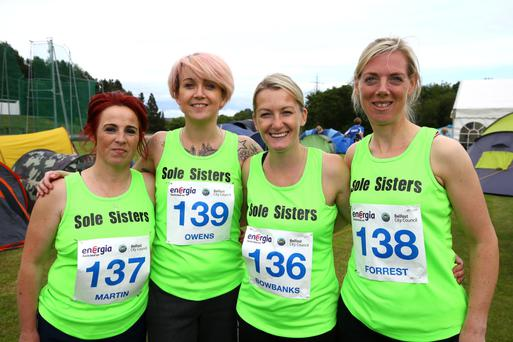 Claire Martin, Donna Owens, Natalie Bowbanks and Eleanor Forrest, who ran under the Sole Sisters banner