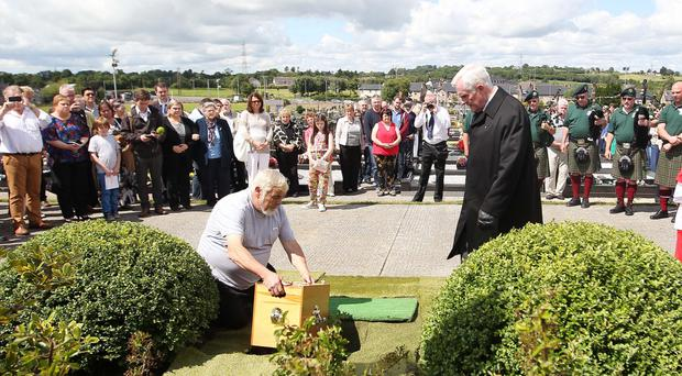 The burial at Clonoe Chapel yesterday