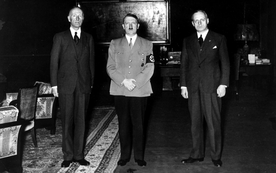 Lord Londonderry (left), Hitler and von Ribbentrop in the Reich Chancellery, Berlin, in February 1936, the year that von Ribbentrop visited Mount Stewart at Strangford Lough