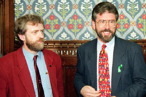 Jeremy Corbyn (left) with Sinn Fein leader Gerry Adams in the House of Commons in 1995