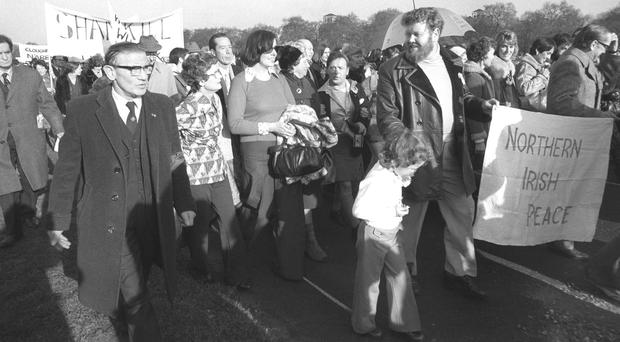 Founder Betty Williams, carrying handbag, at the start of a march by supporters of the Ulster Peace People