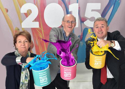 Richard Wakely, festival director; Roisin McDonough of the Arts Council NI and Stephen Cruise of Ulster Bank help launch the event