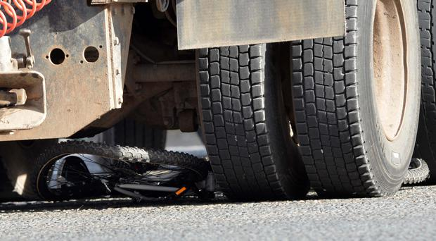 A bicycle that was crushed under the wheels of a lorry following an accident in west Belfast yesterday