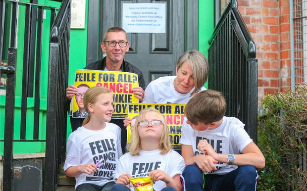 Jon Lundy and Roisin Curran with Mercedes, Mia and Jude at yesterday's protest