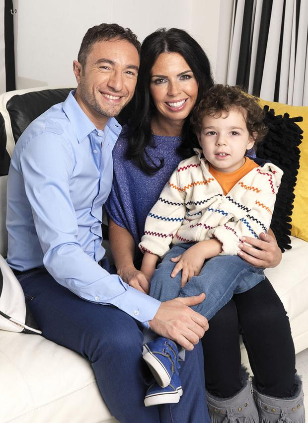 Happy family: Vincent Simone with his new wife Susan Duddy and their son Luca