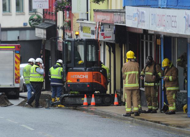 Emergency personnel at the scene of the gas leak yesterday