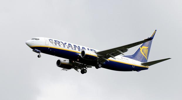 The Ryanair plane had taken off with luggage from its previous flight still on board