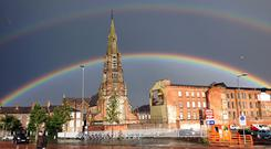A double rainbow over St Patrick's Church in Belfast after a heavy cloudburst
