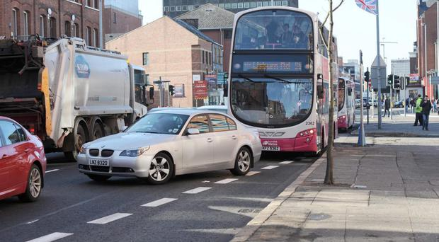 One of the bus lanes at Great Victoria Street, Belfast, where cameras have resulted in car drivers being penalised