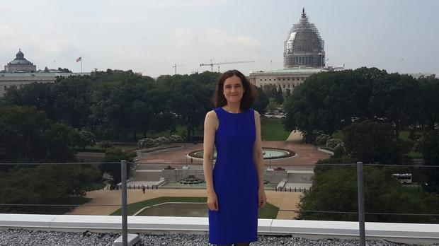 Theresa Villiers in Washington DC, where she has held meetings regarding a political dispute threatening power-sharing at Stormont