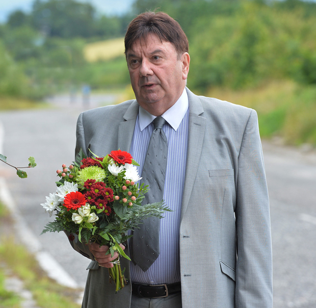 One of the surviving Miami Showband members, Des Lee, at the scene of the murders of three band members at Buskhill, outside Newry