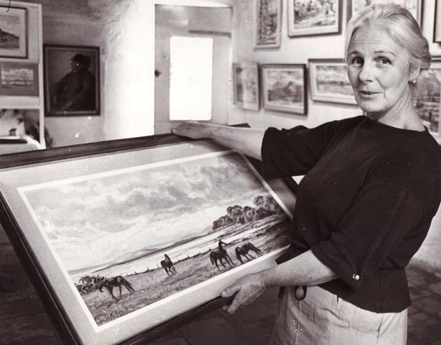 Lady Coralie Kinahan in the gallery at her home in July 1980