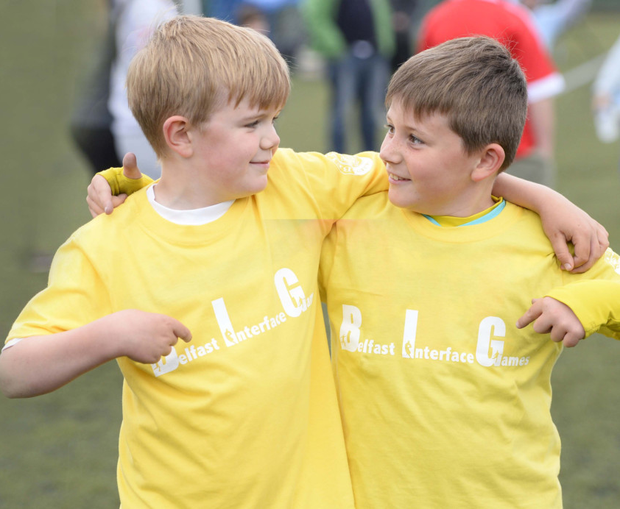 Children from all over Belfast come together to take part in the PeacePlayers Flagship Games MARK MARLOW