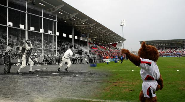 An image of GIs playing baseball at the now Kingspan Stadium in the early 1940s merged with Ulster Rugby in action at the ground recently