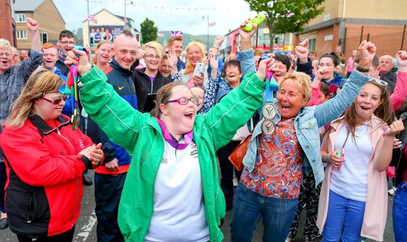 Kirsty Devlin receives a rapturous welcome on the Shankill Road yesterday
