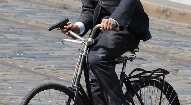 Jamie Dornan during filming for Second World War drama Anthropoid in Prague