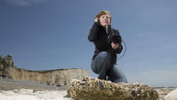 Cheryl Tipp, curator of wildlife and environmental sounds at the British Library, at Birling Gap on the Sussex coast