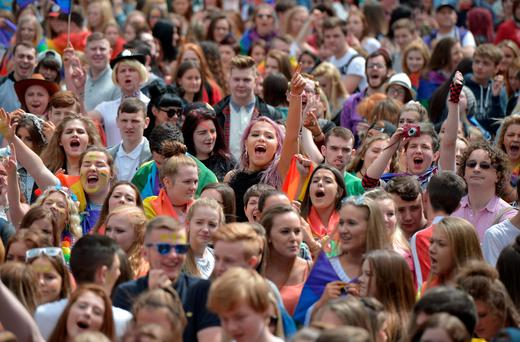 Some of the thousands of participants and supporters at Belfast Pride last weekend