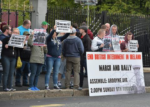 Republicans protest outside the Feile event last night where George Hamilton and Martin McGuinness discussed the Troubles