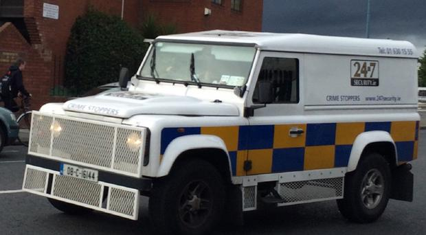 Police Service of a replica Northern Ireland (PSNI) Land Rover on the streets of Harold's Cross, Dublin.