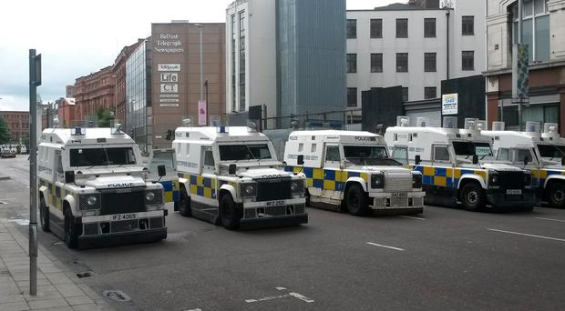 PSNI vehicles on Royal Avenue, Belfast, as a major security operation ahead of a contentious republican parade and related loyalist protests