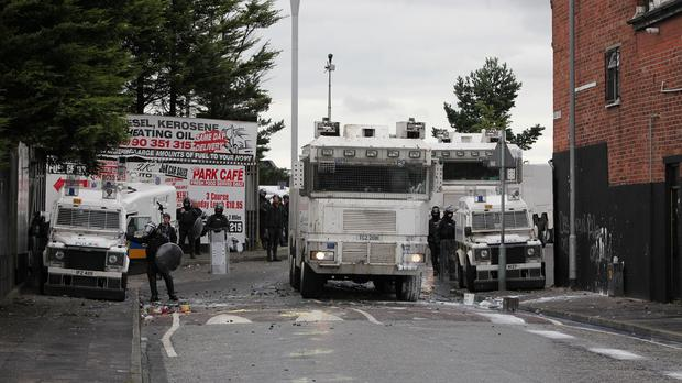 Water cannon were deployed by police