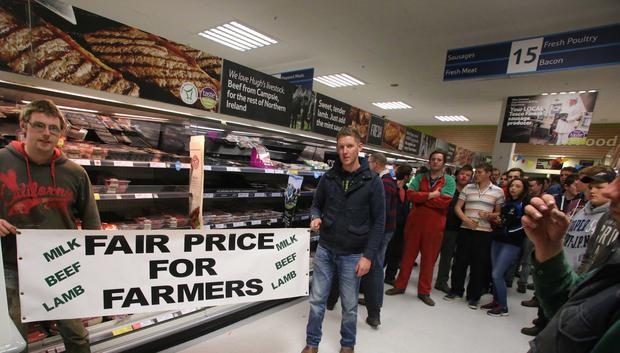 Local farmers protest at Sainsbury's supermarket in Coleraine