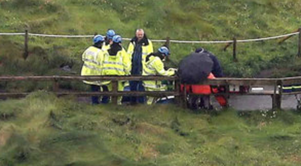A stricken walker has been airlifted from the Carrick-a-Rede tourist attraction after falling on the island between Ballycastle and Ballintoy