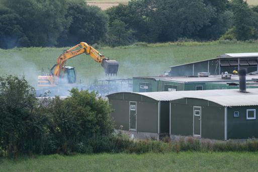 The farm outside Strabane where more than 400 pigs died in a blaze yesterday