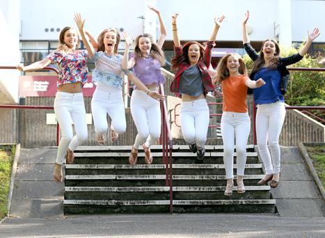 From left: Victoria College students Chloe Haylett, Ellen Beattie, Kathryn Shane, Jane Maguire, Kirsty Carruthers and Rachel Milligan got a combined nine A*s and 12 As in their results