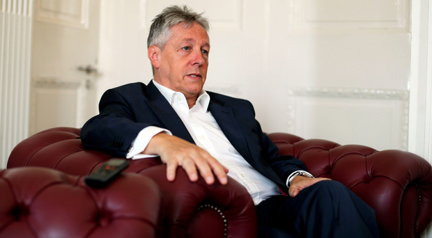 First Minister Peter Robinson speaking at Stormont Castle yesterday