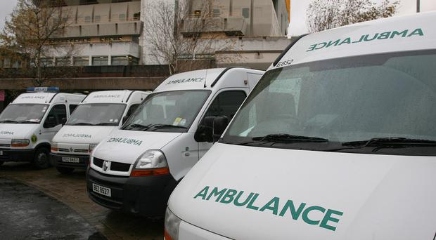 Ambulances at the City Hospital in Belfast