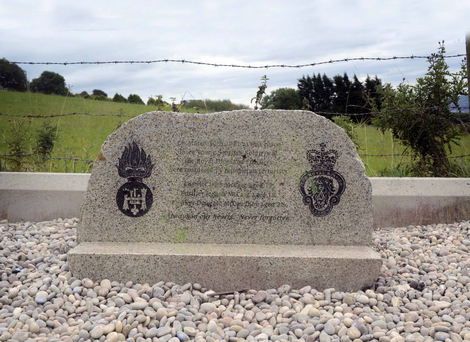 The memorial to three Scottish soldiers was erected in 2010, nearly 30 years after their murder