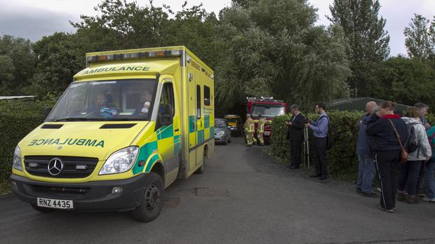 Four people were injured in a crash in Co Down with one airlifted to hospital and the others taken by ambulance